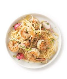 Shrimp and Tarragon Spaghetti recipe from realsimple.com #myplate #protein #vegetables