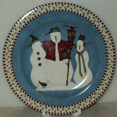 Sakura Debbie Mumm Snowman Christmas Salad Plate Holiday Light Blue  - This Item is for sale at LB General Store http://stores.ebay.com/LB-General-Store ~Free Domestic Shipping
