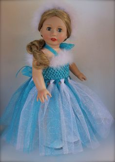 'Frozen' dress fits American Girl. Doll and Dress available at Harmony Club Dolls www.harmonyclubdolls.com