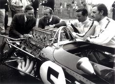 Lotus 49. Driven for the first time at the Dutch GP 1967 by Jim Clark (#5) and Graham Hill (#6). Collin Chapman, Jim Clark, Graham Hill.