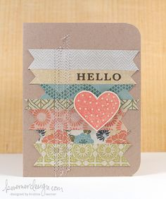 Hello Card hello cards, paper crafts cards, paper design, cards simple, paper scraps, kristina werner cards, card scraps, scrap card, banner