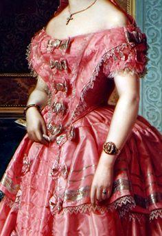 Ángel María Cortellini Hernández,Portrait of a Lady (detail) 1855.