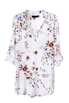 White V-neck Long Sleeves Floral Blouse