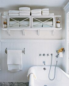 Towel cabinet from wooden flea-market cupboard on marthastewart.com