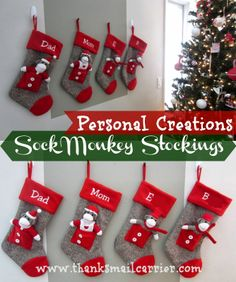 Adorable, whimsical and fun personalized Sock Monkey Stockings from Personal Creations! #ad #PCholiday
