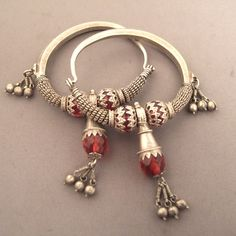 "India | Old silver earrings from Himachal Pradesh ~ ""Braghar"" 