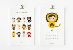animal matryoshka 2012 printable calendar