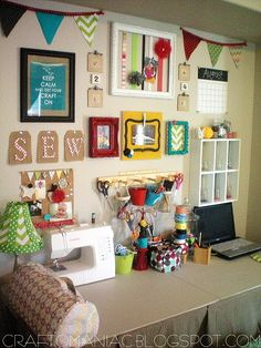 craft nook, craft space, sewing tables, colorful crafts, sewing spaces, craft areas, craftroom, sewing rooms, craft rooms