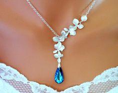 Blue Necklace BERMUDA BLUE PEACOCK Silver ORCHIDs