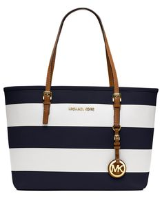 MICHAEL Michael Kors Handbag, Jet Set Small Travel Stripe Tote - Handbags & Accessories - Macy's