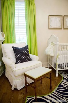 Chair and ottoman  http://www.babylifestyles.com/2011/06/nursery-reveal-lime-green-and-navy-modern-girl-room/