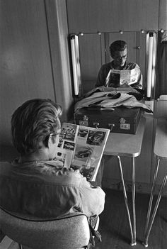 James Dean photographed in his dressing room by Richard C. Miller.