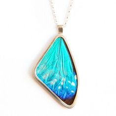 Blue Butterfly Wing Necklace.