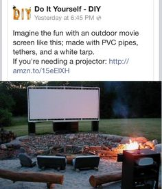 Great outdoor movie time❤  PVC pipe, white tarp, + tethers.