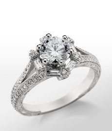Monique Lhuillier Vintage Hexagon Engagement Ring in Platinum #BlueNile