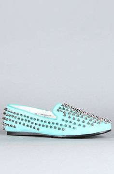 The Hellraiser Shoe in Turquoise and Silver Spikes (Exclusive) by Unif