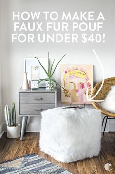 Faux fur pouf DIY th