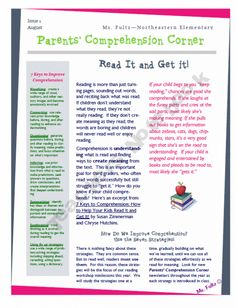 Reading Strategy Newsletters