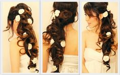 How to make romantic half-up updo hairstyle with curls for homecoming prom bridal party step by step DIY tutorial instructions, How to, how to do, diy instructions, crafts, do it yourself, diy website, art project ideas