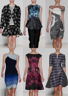 Lela Rose A/W 2014/15-Simple Flower Heads – Black and White Monos – Pen and Ink Drawing – Deep Borders – Painterly Rose Prints – Swirls and Contour Lines – Indigo Dip Dyes – Climbing Rose Layouts – Raffia Patterns