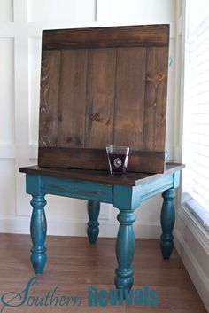 Southern Revivals-Teal/Wood end tables