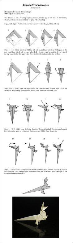 Как сделать из оригами динозавра