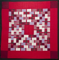"""Recycled shirt quilt :  Red Brick Road, 60 x 60"""", by Pam Bell"""