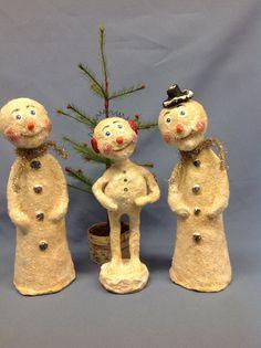 Paper mâché snowman winter holiday figure by monniewilsonsstudio