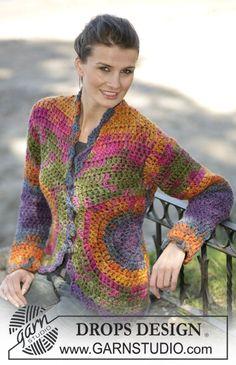 "DROPS Crochet cardigan in ""INKA"", size S - XXL ~ DROPS Design"