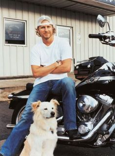 Always love a man with his dog...and a bike. Especially if it's Dierks! peopl, dogs, dierks bentley, dog wcelebr, men, dierk bentley