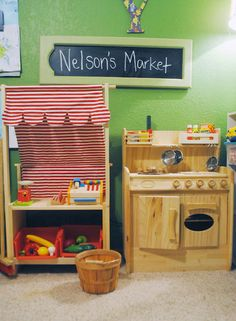 DIY Grocery store play, dramatic play, play market, play grocery, grocery stand, pretend grocery ,