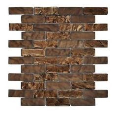Jeffrey Court Bronze Trophy Foil 10.75 in. x 12 in. Glass Mosaic Wall Tile 99613 at The Home Depot  Powder room   Bathroom shower