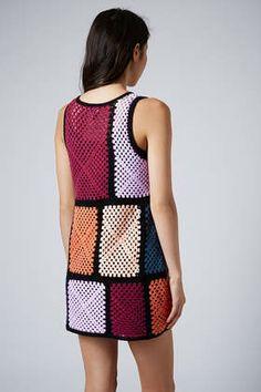 Crochet Patch Dress   Topshop #crochet #dress #grannysquare
