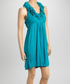 Turquoise Ruffle Mimi Racerback Empire-Waist Dress by SOUTHERN fROCK #zulilyfinds