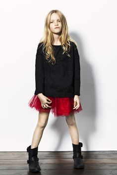 Red Tulle skirt with moto boots, love the hard/soft. #estella #designer #kids #fashion