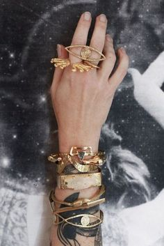 arm party, bracelets, gold rings, tattoo, accessories, jewelri, gold jewelry, arm candies, eyes
