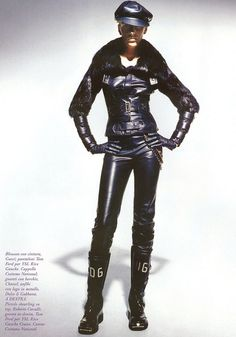 leather biker lady Hannelore Knuts Dolce & Gabbana