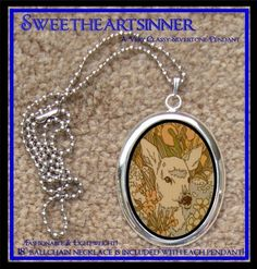 DIVINE BLISS DESIGNS - Silver Tone Pendant With Chain - 1970s Kitsch Deer Woodland Creatures
