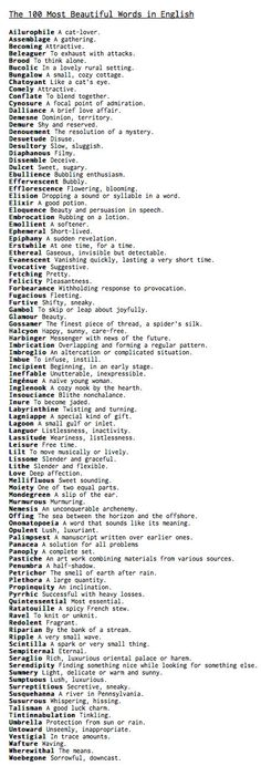 100 beautiful words-maybe, but it makes a great vocabulary/spelling word list