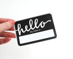 Fancy Name Tags with Modern Calligraphy . Hello My Name Is .