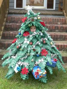 Homemade Mini Christmas Tree Costume @Adrianne McGinnis this is hilarious...please don't do this to her! :)