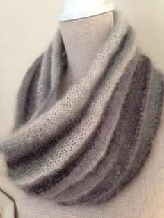 Free pattern - Cowl knitted with gorgeous soft kid mohair & silk yarn