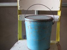 Vintage Lard Bucket rusty chippy aqua pail by katietwoshoesvintage, $15.00