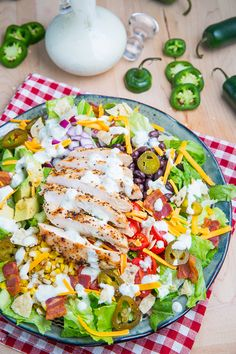 Southwestern Grilled Chicken Jalapeno Popper Salad. Goes great with the jalapeno popper dressing!