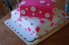 polka dots, color, shower cakes, bridal shower
