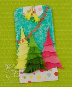 Inked tissue paper trees tutorial for gift-card-holder tag
