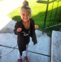 Stylish kid with bun. Cute!