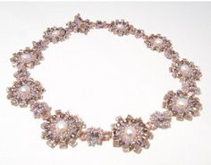 Lilac Rosette Seed Bead Necklace | AllFreeJewelryMaking.com