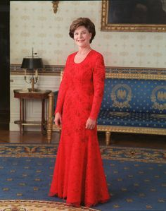 Laura Bush in her inaugural ball gown, 2001