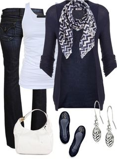 Love this. fashion, ugg boots, jeans, fall looks, ballet flats, chevron scarf, blues, fall winter outfits, designer clothing